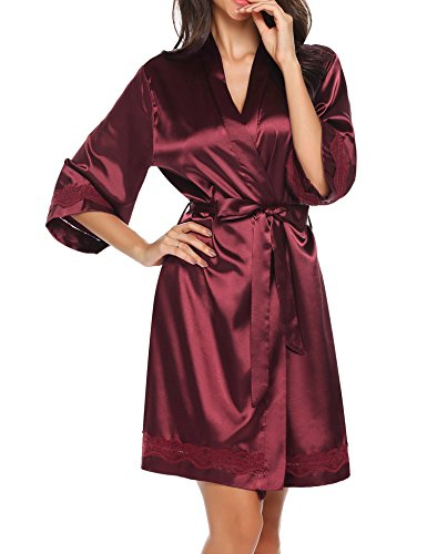 Misakia Womens Satin Robe, Mid-Length Dressing Gown (Wine Red XL ...
