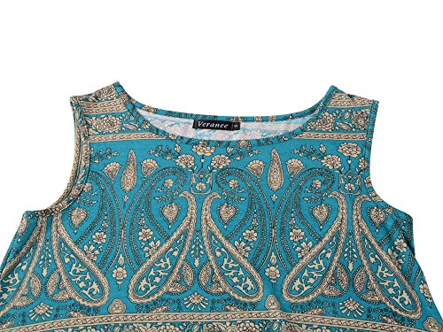 e004e520d00e2c Veranee Women s Sleeveless Swing Tunic Summer Floral Flare Tank Top Large  6-21