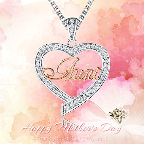 8b4a5d721 For Mother's Day Gifts – 'Aunt' Love Heart Pendant Necklace – Women's  Twotone Fashion Jewelry – Anniversary Birthday Valentines Day Present for  Her from ...