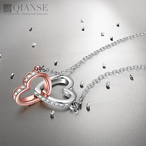 QIANSE Mothers Day Gifts For Women Heart Necklaces Teen Girls Swarovski Crystal Jewelry Silver Necklace Anniversary Her Birthday