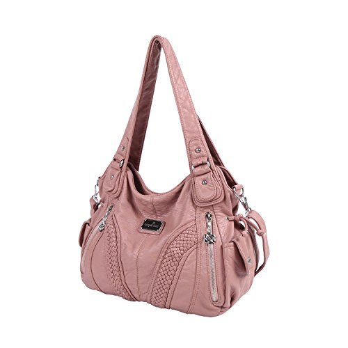 Angelkiss Women Top Handle Satchel Handbags Shoulder Bag Messenger Tote Washed Leather Purses Pink