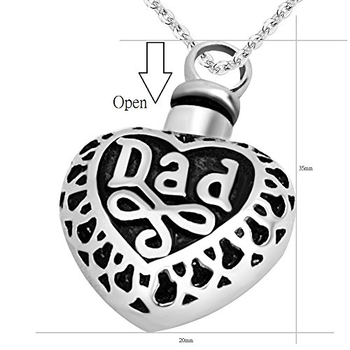 Jmqjewelry Dad Urn Necklaces For Ashes Heart Cremation Jewelry Keepsake Memorial The Beautyline
