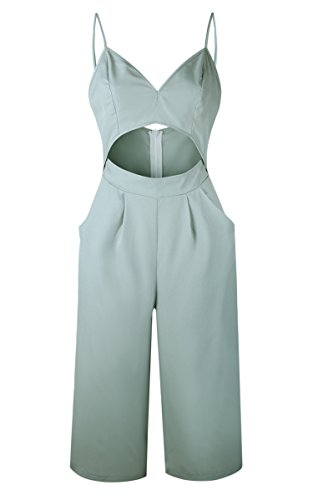 182a389bdb5 Angashion Women s Jumpsuits-V Neck Adjustable Spaghetti Strap Wide ...