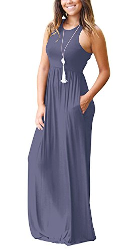 238c463f93ae GRECERELLE Women's Sleeveless Racerback Loose Plain Maxi Dresses Casual  Long Dresses with Pockets Purple Gray-M