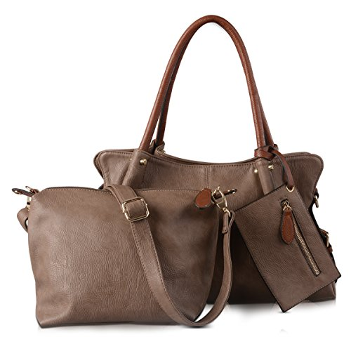 f128b39202f8 AB Earth 3 Pieces Women Hobo Handbag PU Leather Totes Matching Wallet  Satchel Shoulder Bag