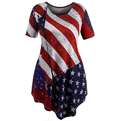 b823e1c323a1f T-Shirts Plus Size chaofanjiancai Women s American Flag Shirt fit Vest  Sports Blouse USA O-Neck Short Sleeve Fashion Print Summer Casual (4XL