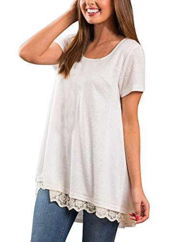 74b5b01d6a2 Veranee Women's Short Sleeve Swing Tunic Shirts Lace Splicing Tunic Top  Blouse Medium White