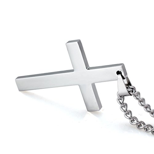5e7a8306bc8df1 Jstyle Jewelry Mens Simple Cross Necklace Stainless Steel Pendant for Women  24 Inch