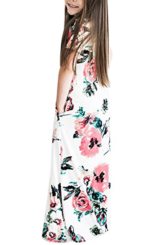 e699bab2c21 RBwinner Girl's Short Sleeve Floral Printed Maxi Dresses Empire Waist Long  Floor Length Dress With Pockets