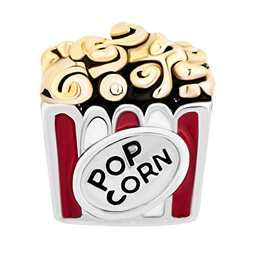 Movie Popcorn European Charm Bead For European Charm Bracelets And Necklaces