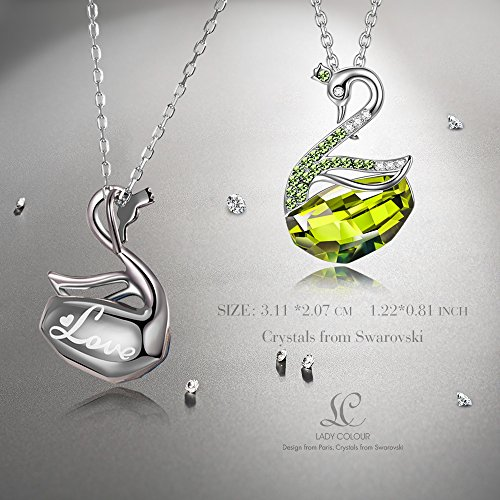 ae9b4ee6e LADY COLOUR Swan Lake Pendant Necklace Swarovski Crystals Animal Collection  Engaraved Love Jewelry for Her Birthday Gifts for Teen Girls Daughter  Sister ...
