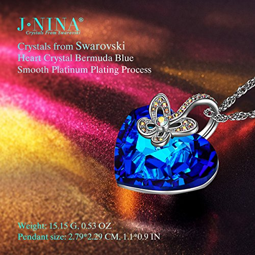 j nina jewelry gifts for women butterfly pendant necklace with heart