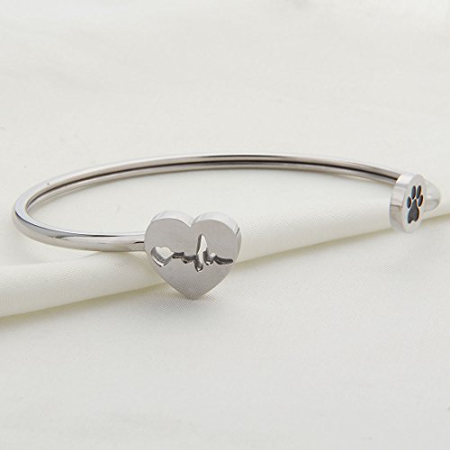 2283060b9b0a3 WUSUANED Heart Beat Dog Paw Cuff Bracelet Vet Tech Jewelry Gift for ...
