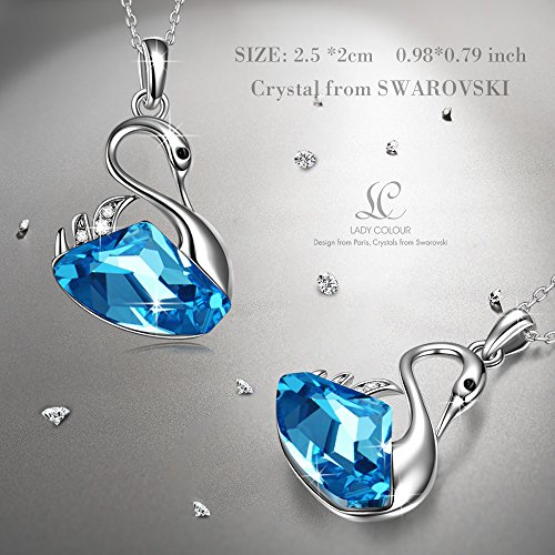 79b0314e29c1 LADY COLOUR Blue Swan Lake Pendant Necklace Christmas Day Gifts for Wife  Girlfriend Present Swarovski Crystal Animal Designed Jewelry for Her  Birthday Gifts ...