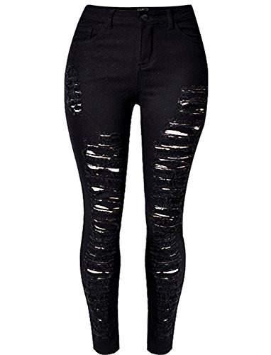 acef867cc3ac29 OLRAIN Womens Long Jeans Destroyed Ripped Hole Trousers Denim Pants 16 Black