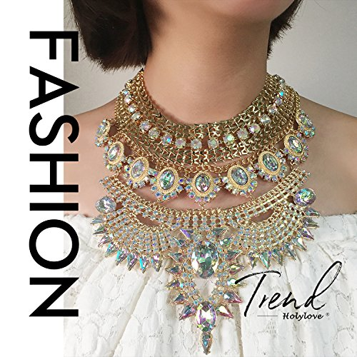 Holylove Colorful Statement Necklaces Pendant Collier Collar Choker Big Vintage Maxi Chunky Necklace Jewelry