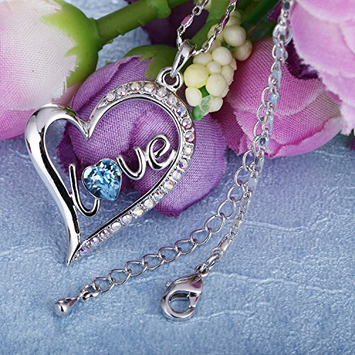 "adf3a8e46 SIVERY""Forever Love"" Women Necklace Pendant with Swarovski Crystal, Jewelry  for Women Gifts for Mom"