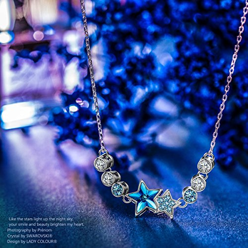 LADY COLOUR Gifts Women Necklace Graduation Teen Girls Blue Star Pendant Swarovski Crystsals Jewelry Wife Birthday Daughter