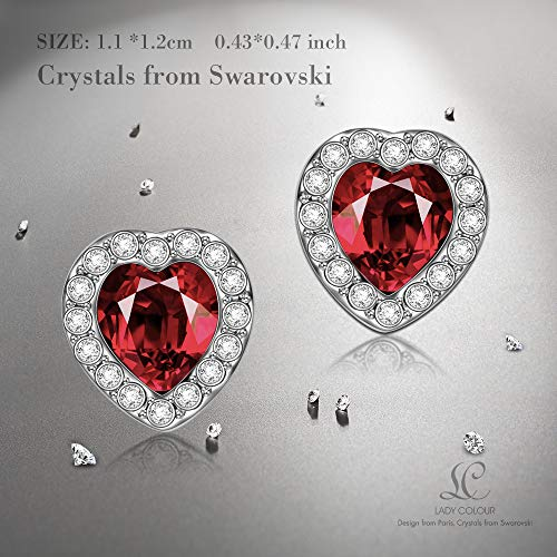 LADY COLOUR True Love Ruby Heart Earrings Gifts For Her Swarovski Crystals Jewelry Women Christmas Birthday Anniversary