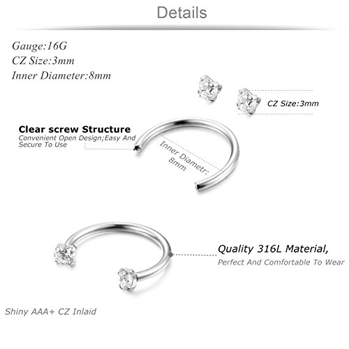 Jstyle 3pairs Stainless Steel Nose Ring Hoop Cz Nose Piercing