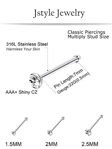 Jstyle Stainless Steel Nose Rings Hoop Nose Stud Cz Piercing For