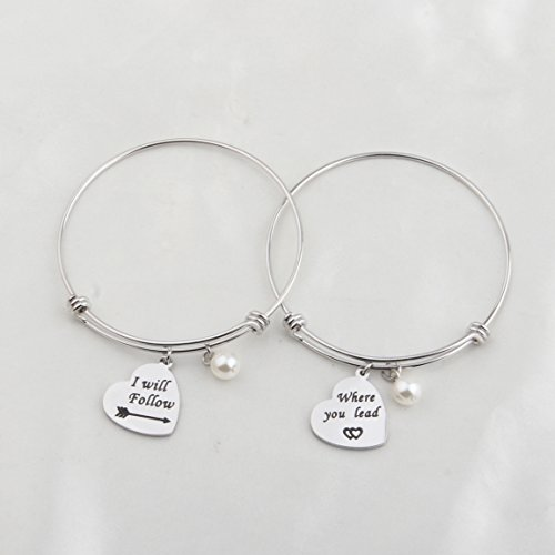 7c8964f75 KUIYAI Gilmore Girls Bracelet Sets Where You Lead I Will Follow Cuff Best  Friend Sisters Girlfriends Gift (Silver expandable)