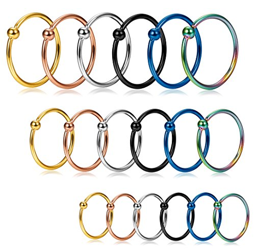 Jstyle 18pcs 20g Stainless Steel Nose Ring Hoop Septum Ring Cartilage Helix Ear Piercing 6mm 8mm 10mm The Beautyline