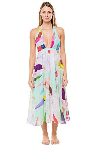 e55dd2ebba Mara Hoffman Women's Marimba Halter Midi Dress Cover up, Aqua, M | The  Beautyline