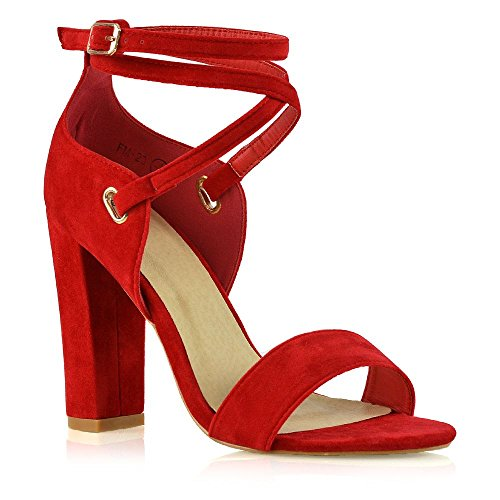 a230fee992e ESSEX GLAM Womens Strappy Sandals Block Mid Heel Red Faux Suede Open Toe  Party Shoes 7 B(M) US
