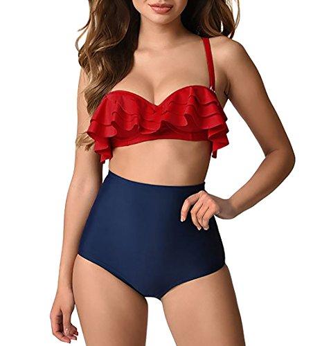 35b6a45aac8 Annigo Juniors Flounce Top Slimming Swimsuits For Women Bikini With Supp…