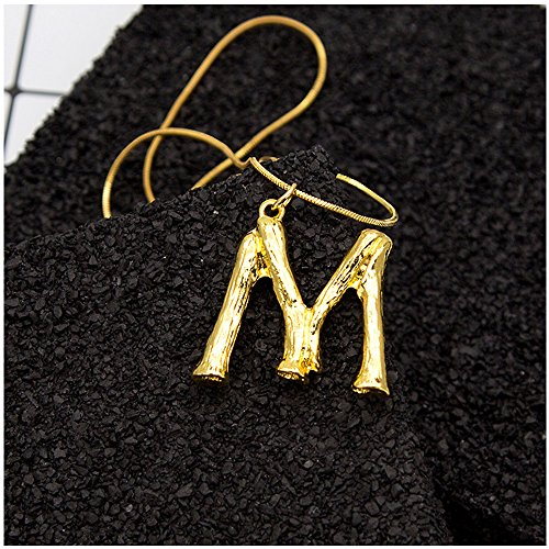 Minghua Large Initial Necklace Gold Big Letter Script Name
